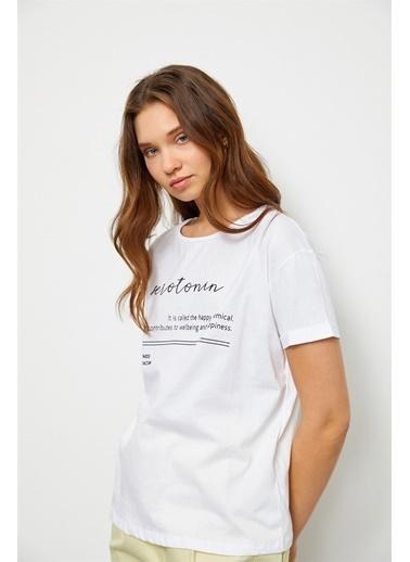 Setre Lila Slogan Baskılı T-Shirt Ekru